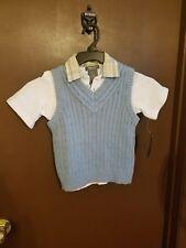 Kenneth Cole Kids Boys Long Sleeve Solid  Dress Shirt W Vest 2 Piece Set Size 7T