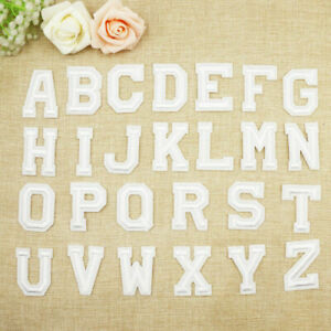 ALPHABET LETTERS EMBROIDERED IRON ON BADGE SEW ON PATCH WHITE A-Z APPLIQUE