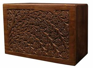 Memorial Funeral Urn Box For Human Ashes Adult Handcrafted Engraved Rose wood