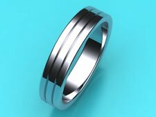 Wedding band ring Mens PLATINUM 950 5mm FLAT Engraved,  Hatton garden Hand made