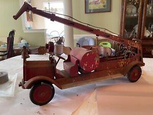Vintage Pressed Steel Keystone Aerial Ladder 79 Fire Truck Unrestored 1920's