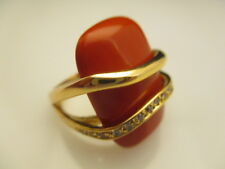Coral Faux Cocktail Ring Austrian Crystal Fabulous Gold Plated Brass (BB996)