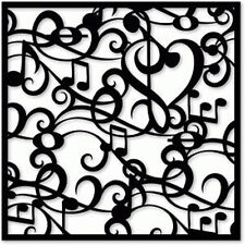 MUSICAL NOTES SWIRL 190m MYLAR QUALITY RE USEABLE STENCIL -  6 x 6
