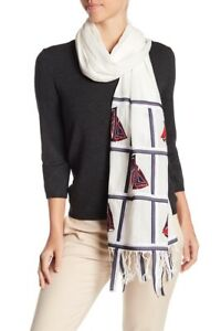 NWT Tory Burch Sailboat Embroidered Oblong Scarf  MSRP $295