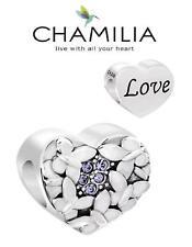 BNIB CHAMILIA 925 sterling silver & Swarovski BUTTERFLY LOVE heart charm bead