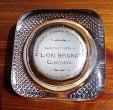 Antique Glass Paperweight Kentucky Jeans Clothing Co. Lion Brand Advertisement