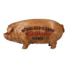 Quaker City Ham Pig Hog Porky Oink Money Bank Box Cast Iron Coin Change Jar