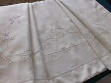 drap brodé, pur fil de lin, mono V T, ancien, 3.15 m X 2.43 m