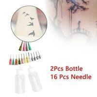 2pcs Bottle Henna Temporary Tattoo Kit Applicator Bottles with 16 Tips Needles