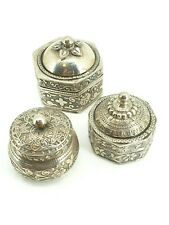 Fabulous Quality Indian 800 Miniature Silver set of 3 Pill Stamp Ring Box .NICE1