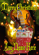 Semi Acoustic Guitar nxc92 Merry Christmas Xmas A5 Personalised Greetings Cards