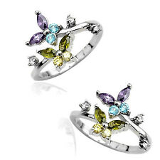 1 Pc Solid .925 Sterling Silver C.Z. Butterfly Adjustable Toe Ring