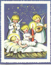 Vintage Little Girls as Angels Christmas card