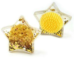 Girls Gold Star Shape Liquid Glitter Detangler Hairbrush Detangling Brush
