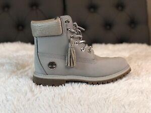 "Timberland Women's 6"" Premium Waterproof Boots Gray Nubuck Size 8.5 A1UWF RARE!"
