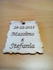 25 pergamene cuori segnaposto matrimonio legno con incisione personalizzata