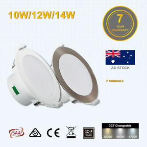 10W/12W/14W Led Downlight  CCT Dimmable White/Satin Chrome 70/90/120mm Cutout