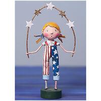"8.25"" Lori Mitchell Star Spangled Girl Americana 4th July Figure Folk Art Decor"