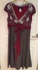 Fabulous Designer Ronit Zilkha Pinstripe/diamonte/burgundy Dress Uk Size 12