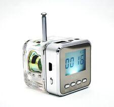 Portable Speaker with Lcd, Led Clock Flash Light Fm Radio Tf Card & Usb (Silver)