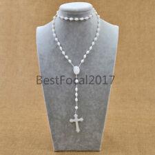 Prayer Glow in Dark Beads Rosary Necklace Cross Crucifix Pendant Jewellery Gifts