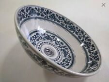 Blue floral scroll wash basin Blue flower wash basin Flower style blue bathroom