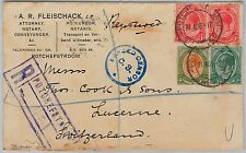 SOUTH AFRICA -  POSTAL HISTORY - REGISTERED COVER to SWITZERLAND : CENSORED 1917