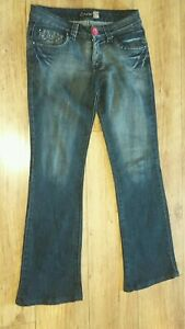 "Onado Ladies W33"" L40"" Dark Denim Faded Embroidered Jeans"