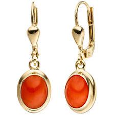Damen Ohrhänger oval 333 Gold Gelbgold 2 Korallen orange Ohrringe Goldohrringe