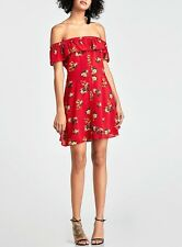 ZARA WOMAN PREMIUM DENIM COLLECTION /OFF THE SHOULDER RED PRINT DRESS / XS