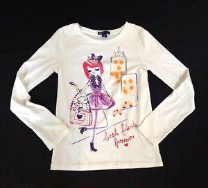Baby Gap filles Logo Blanc T-shirt Top Robe Blanc Rose Paillettes étoiles 4 Ans BNWT