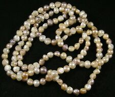 """Mauve Peach White Freshwater Pearl Baroque Long Strand Necklace 58"""" Knotted Silk"""