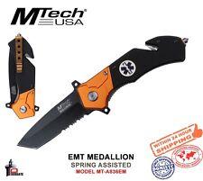 MTech USA EMT Folding Knife Spring Assisted 1/2 Serrated Orange/Black MT-A836EM