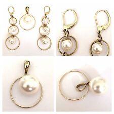 SET CIONDOLO & Orecchini di perle 333 dorati CIRCOLARI IN ORO 8 carati