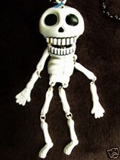 """DANGLING """"DAY OF THE DEAD SKELETON"""" GOLD TOOTH MARDI GRAS BEAD HALLOWEEN (B762)"""