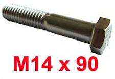 M14 x 90 Stainless Steel Shanked BOLTS - 14mm x 90mm Stainless Hex Bolts x2