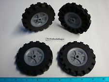 "KNEX WHEELS 4 Large 3.5"" 3 1/2"" Tires w/Gray Pulleys-Rims-Hubs Parts/Pieces Lot"