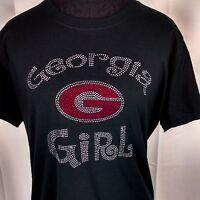 Women's Georgia Girl Bulldogs Rhinestone Football T Shirt Tee Bling Lady
