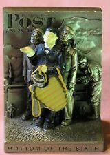Vintage Norman Rockwell Pewter Miniature Bookend 1988 Bottom Of The Fifth