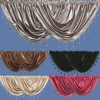 Velvet Beaded Voile Curtain Swags - Pelmet Valance Curtains Swag
