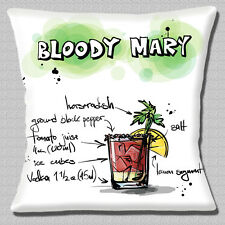 """'BLOODY MARY' COCKTAIL INGREDIENTS NOVELTY WHITE MULTI 16"""" Pillow Cushion Cover"""