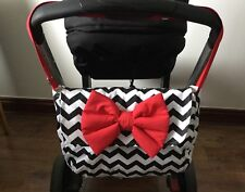 baby car seat apron bow harness strap covers black white dotty pink red white
