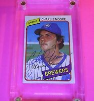 AUTOGRAPH 1980 Topps #579 Charlie Moore Brewers, SIGNED Baseball card auto