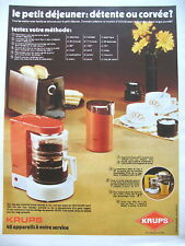 PUBLICITE DE PRESSE KRUPS CAFETIERE MOULIN A CAFE GRILLE PAIN  FRENCH AD 1972