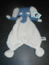 Doudou Plat Éléphant Bleu Blanc Jellycat Neuf Étiquette