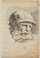 Gesicht des SOLDATEN Original Cochin Kupferstich um 1750 nach RAPHAEL gestochen