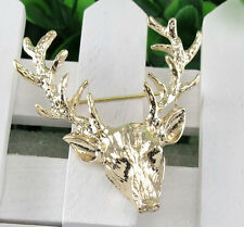 Women Men Gold Tone Milu Head Horn Hunting Collar Brooch Pin Jewelry Xmas Gift
