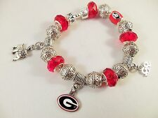 UNIV GEORGIA BULLDOGS Official NCAA TEAM RED GLASS BEADS Silver Charm Bracelet