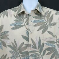 Cooke Street Green Tan Leaf Print Mens L Aloha Hawaiian Shirt 100% Cotton