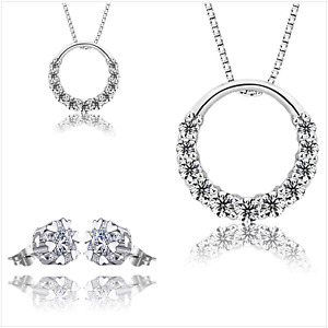 """""""Circle of Sparkle"""" UK Sterling Silver Crystal Jewellery Set Gift Boxed"""